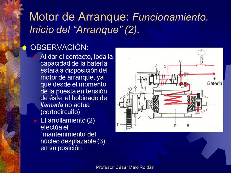 Motor de Arranque: Funcionamiento. Inicio del Arranque (2).