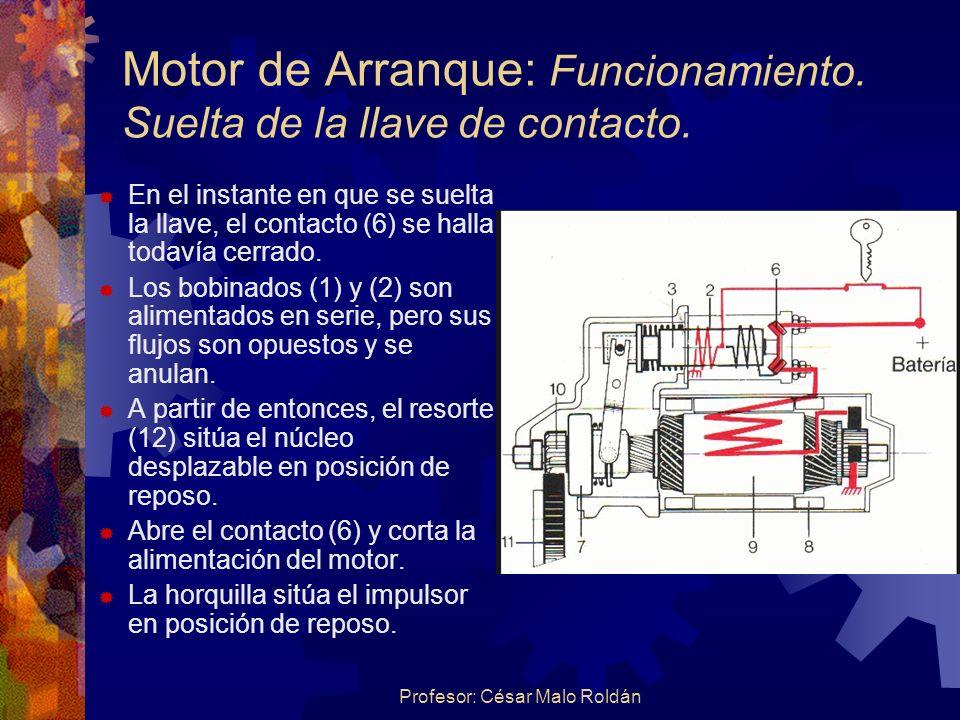 Motor de Arranque: Funcionamiento. Suelta de la llave de contacto.