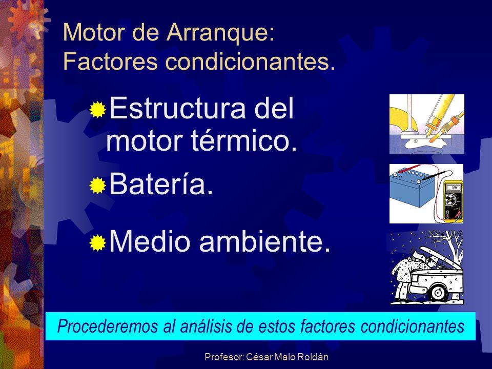 Motor de Arranque: Factores condicionantes.