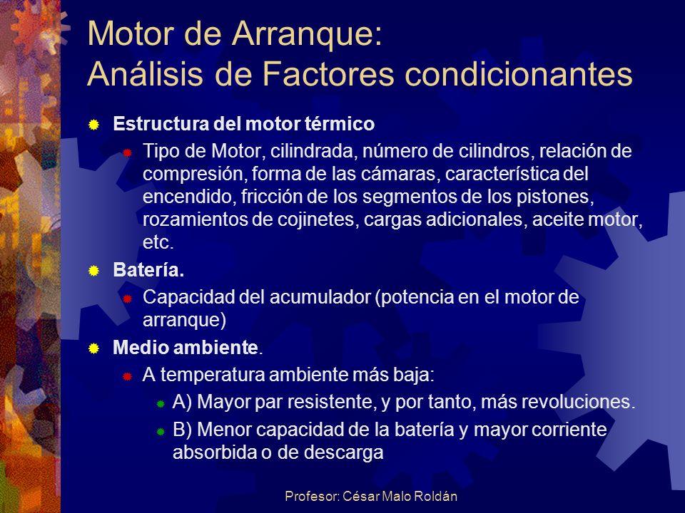 Motor de Arranque: Análisis de Factores condicionantes
