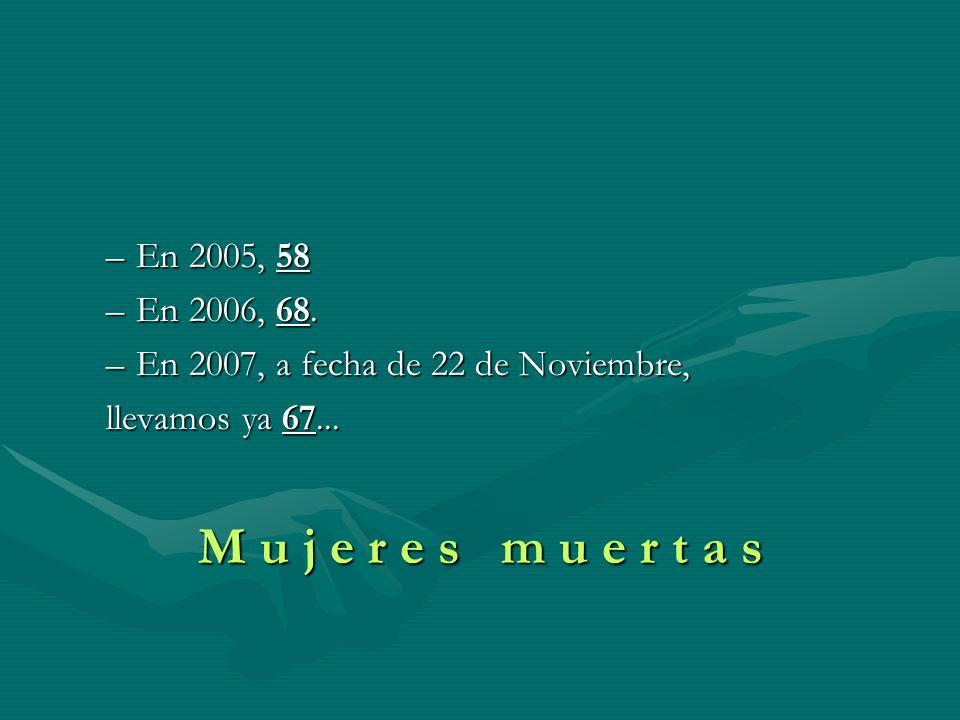 En 2005, 58 En 2006, 68. En 2007, a fecha de 22 de Noviembre, llevamos ya 67...