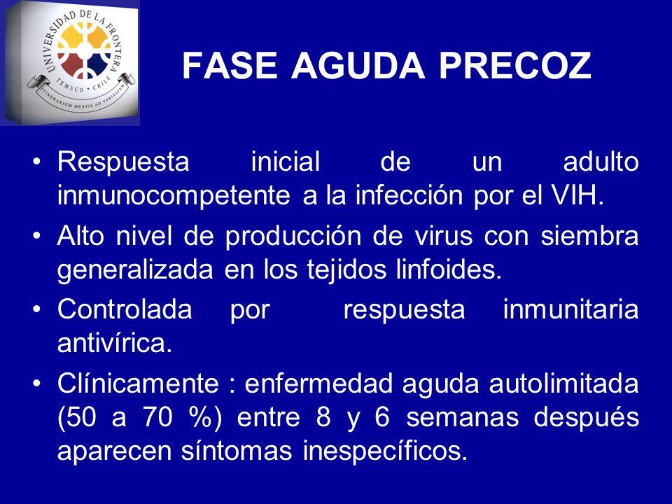 FASE AGUDA PRECOZRespuesta inicial de un adulto inmunocompetente a la infección por el VIH.