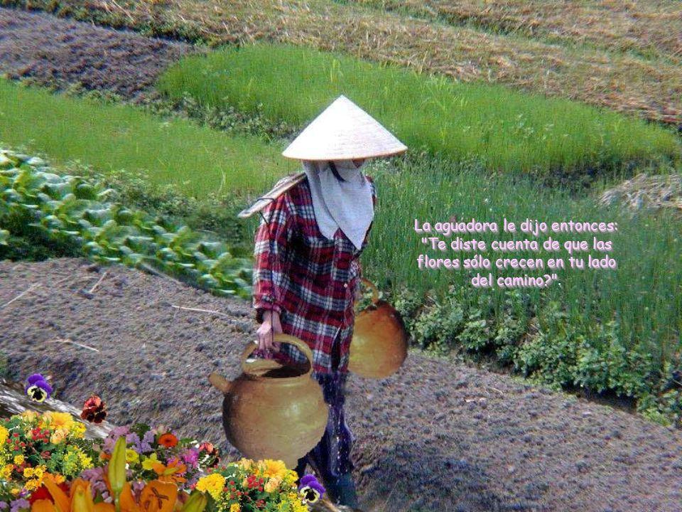 La aguadora le dijo entonces: Te diste cuenta de que las flores sólo crecen en tu lado del camino .