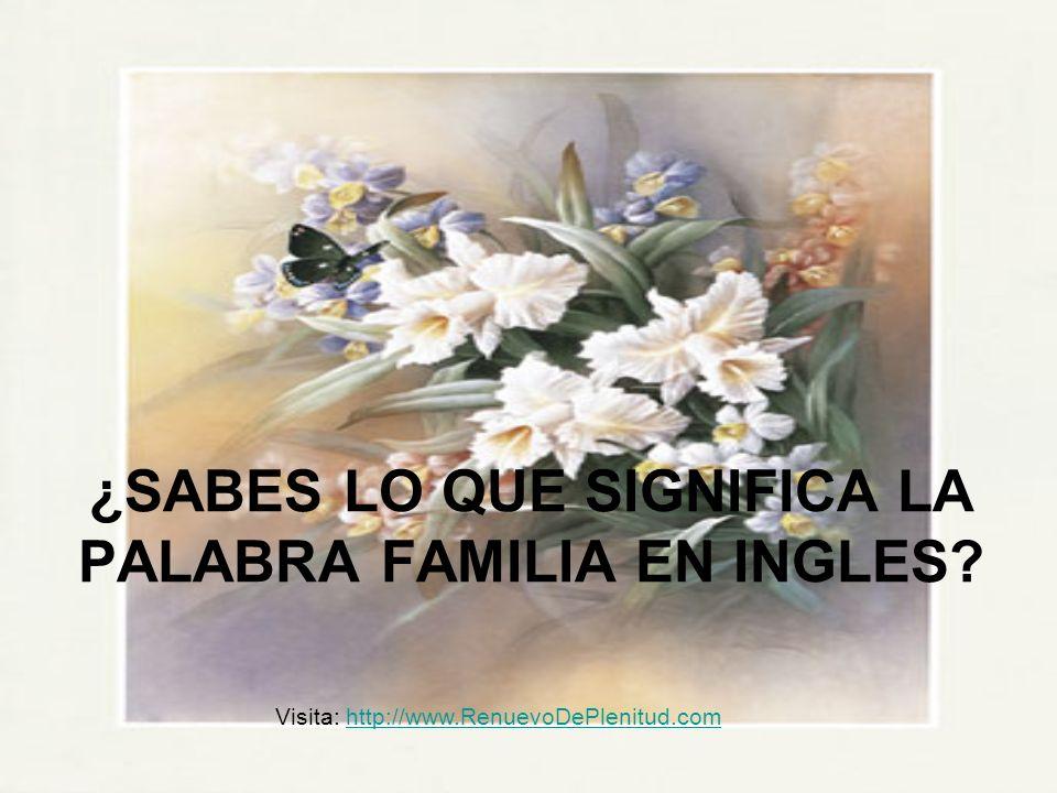¿SABES LO QUE SIGNIFICA LA PALABRA FAMILIA EN INGLES
