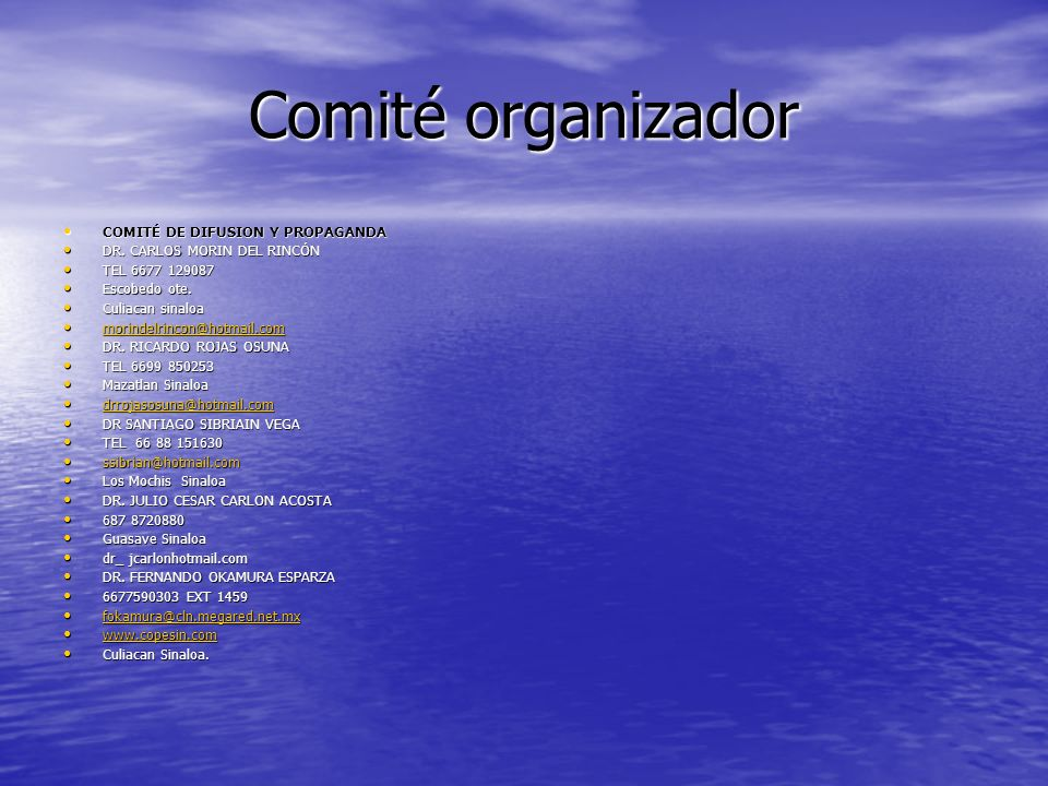 Comité organizador DR. JULIO CESAR CARLON ACOSTA