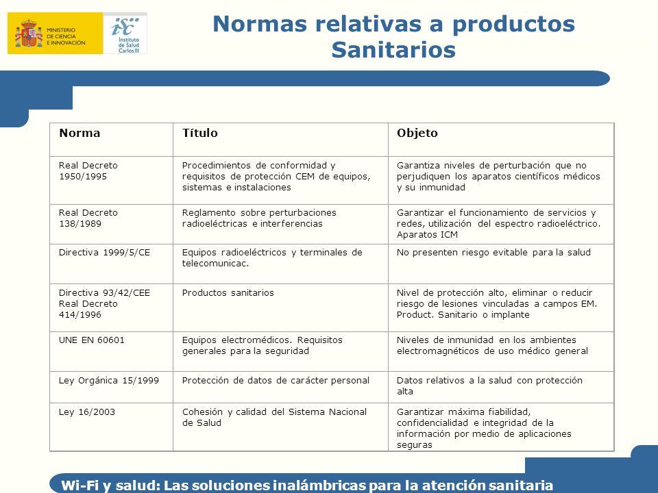 Normas relativas a productos Sanitarios
