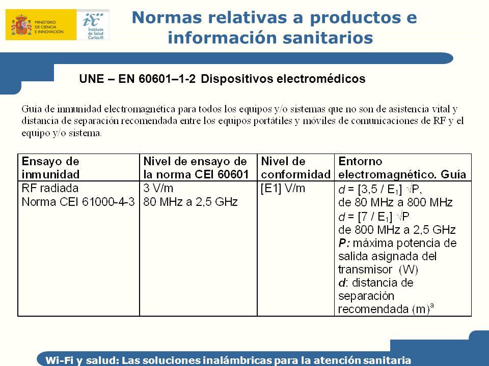 Normas relativas a productos e información sanitarios