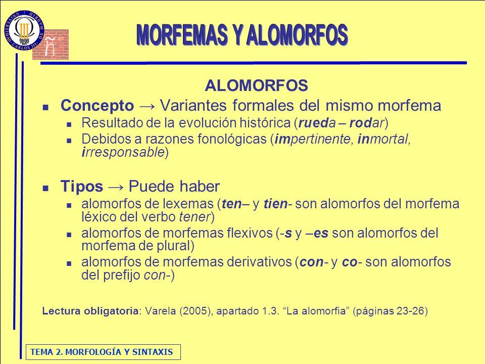 MORFEMAS Y ALOMORFOS ALOMORFOS