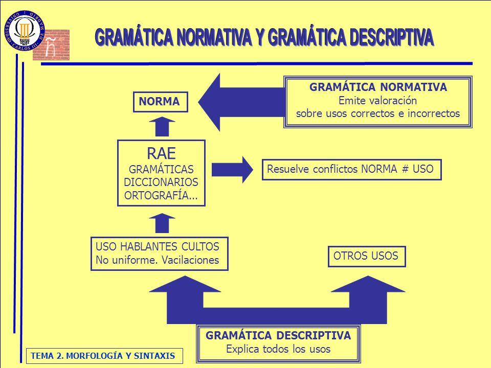 GRAMÁTICA NORMATIVA Y GRAMÁTICA DESCRIPTIVA GRAMÁTICA DESCRIPTIVA