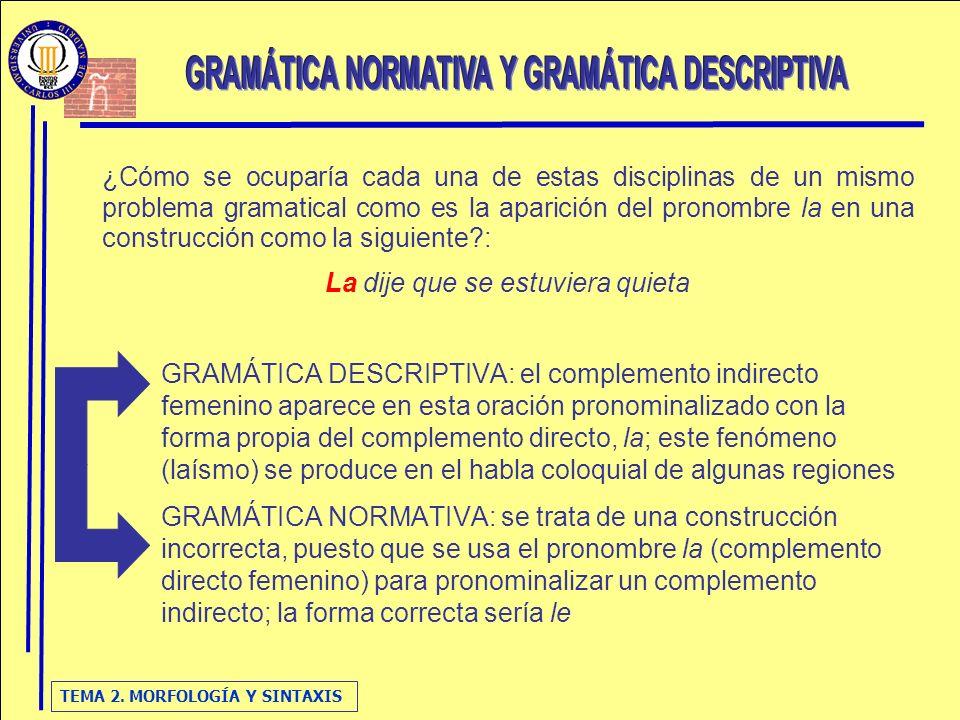 GRAMÁTICA NORMATIVA Y GRAMÁTICA DESCRIPTIVA