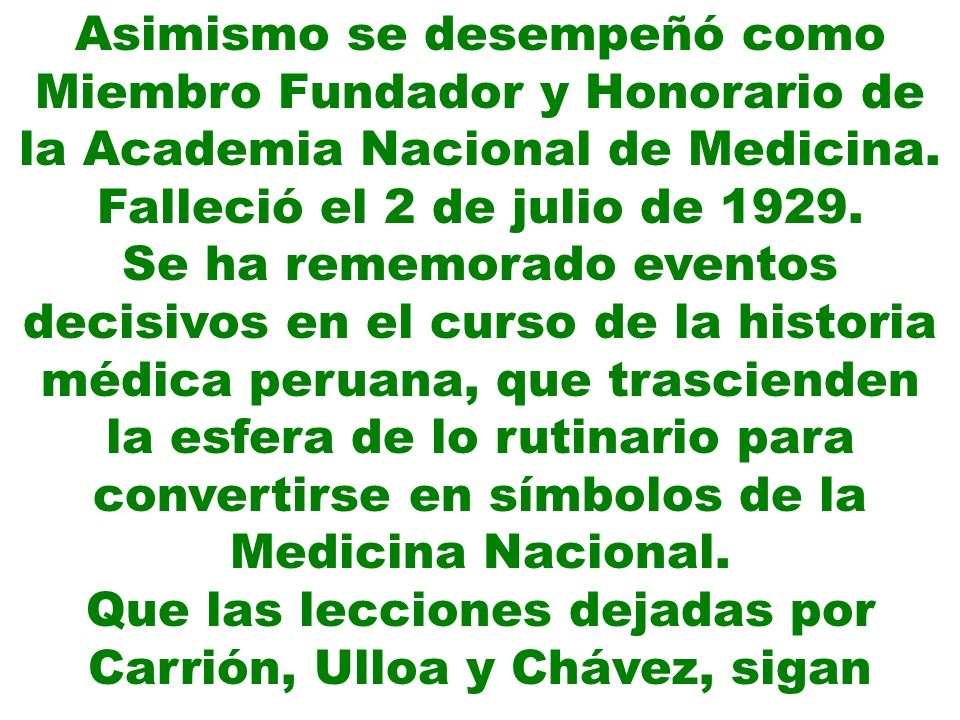 Que las lecciones dejadas por Carrión, Ulloa y Chávez, sigan