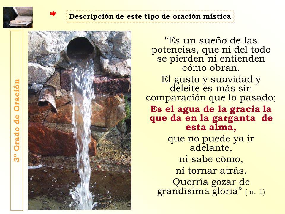 Es el agua de la gracia la que da en la garganta de esta alma,