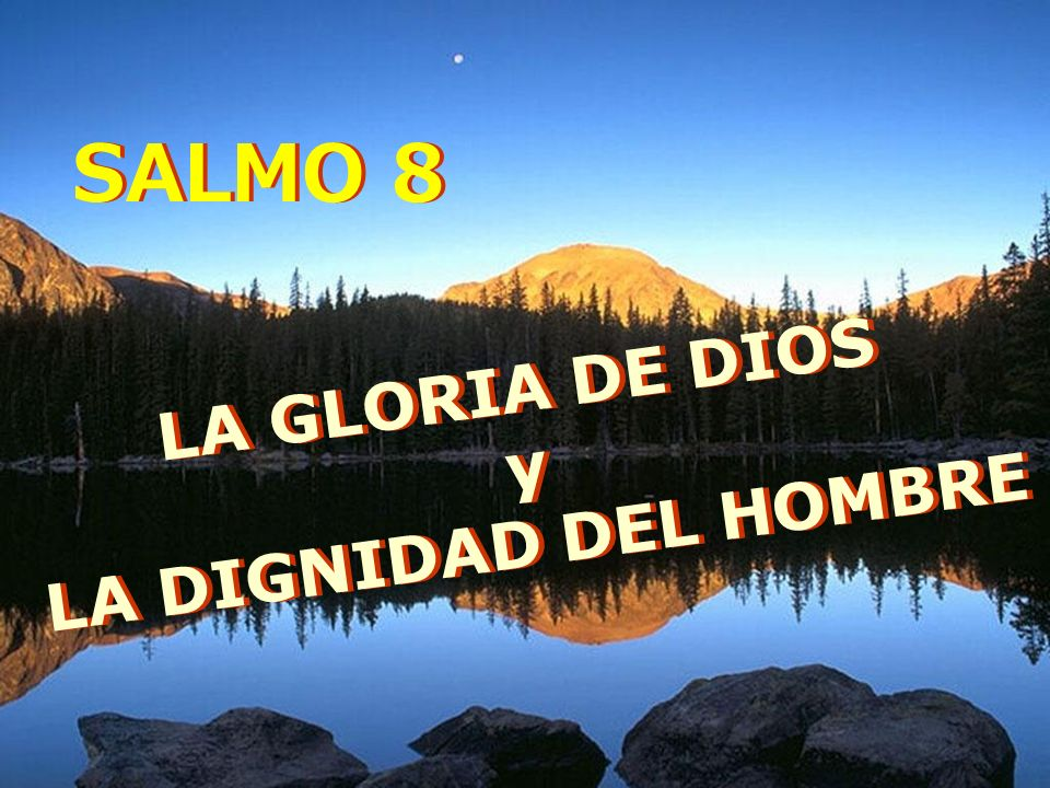SALMO 8 LA GLORIA DE DIOS y LA DIGNIDAD DEL HOMBRE