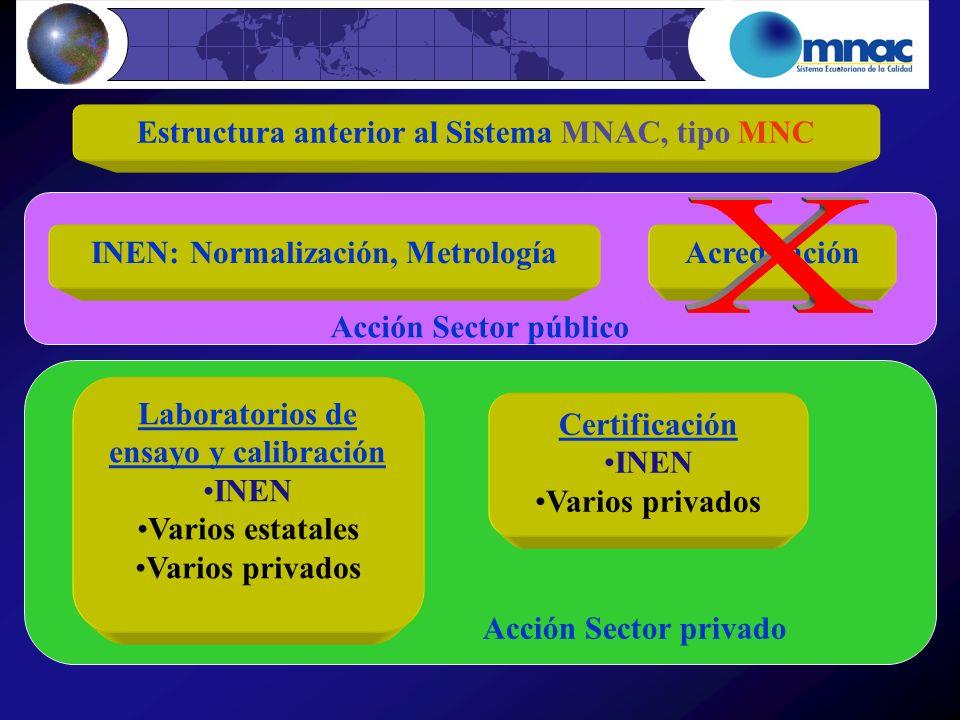X Estructura anterior al Sistema MNAC, tipo MNC Acción Sector público