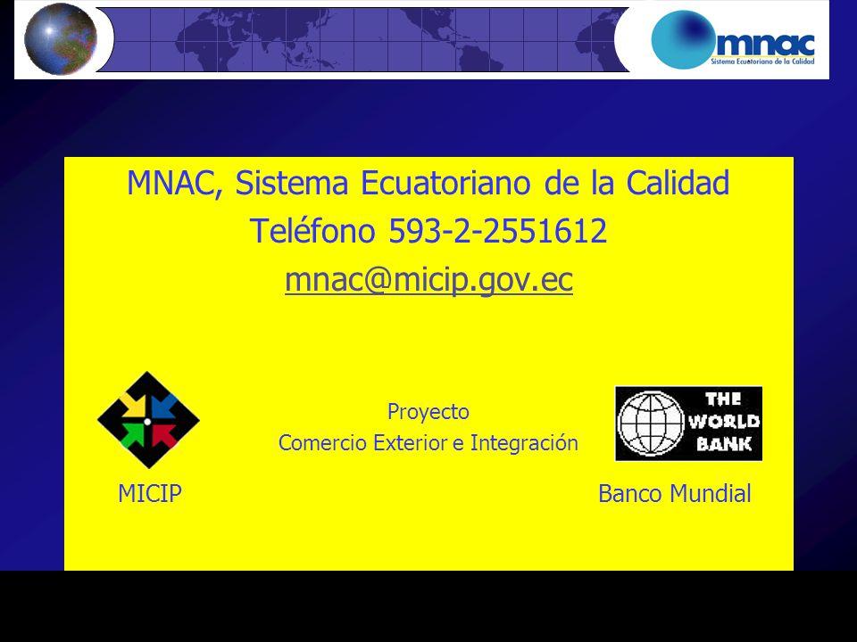 MICIP Banco Mundial MNAC, Sistema Ecuatoriano de la Calidad