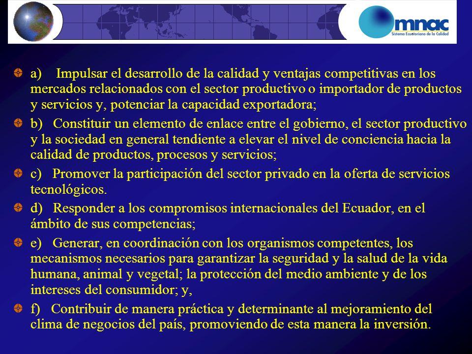 a) Impulsar el desarrollo de la calidad y ventajas competitivas en los mercados relacionados con el sector productivo o importador de productos y servicios y, potenciar la capacidad exportadora;