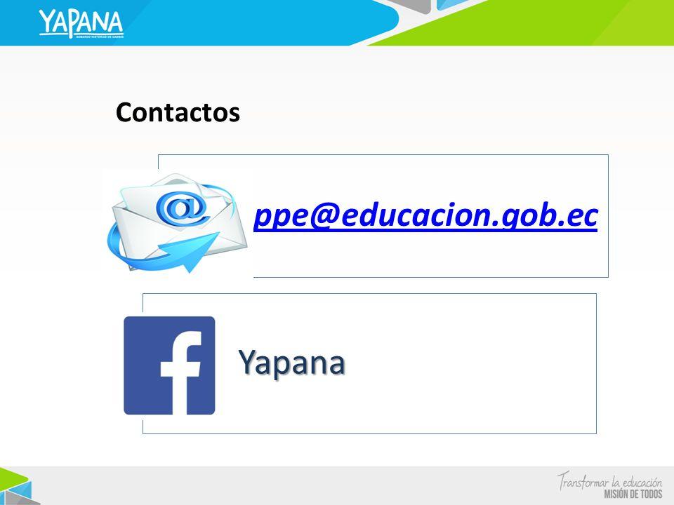 Contactos ppe@educacion.gob.ec Yapana