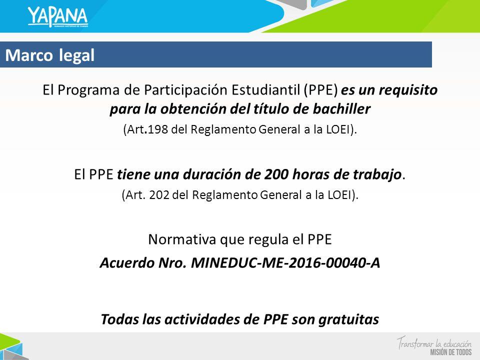 Marco legal El Programa de Participación Estudiantil (PPE) es un requisito para la obtención del título de bachiller.