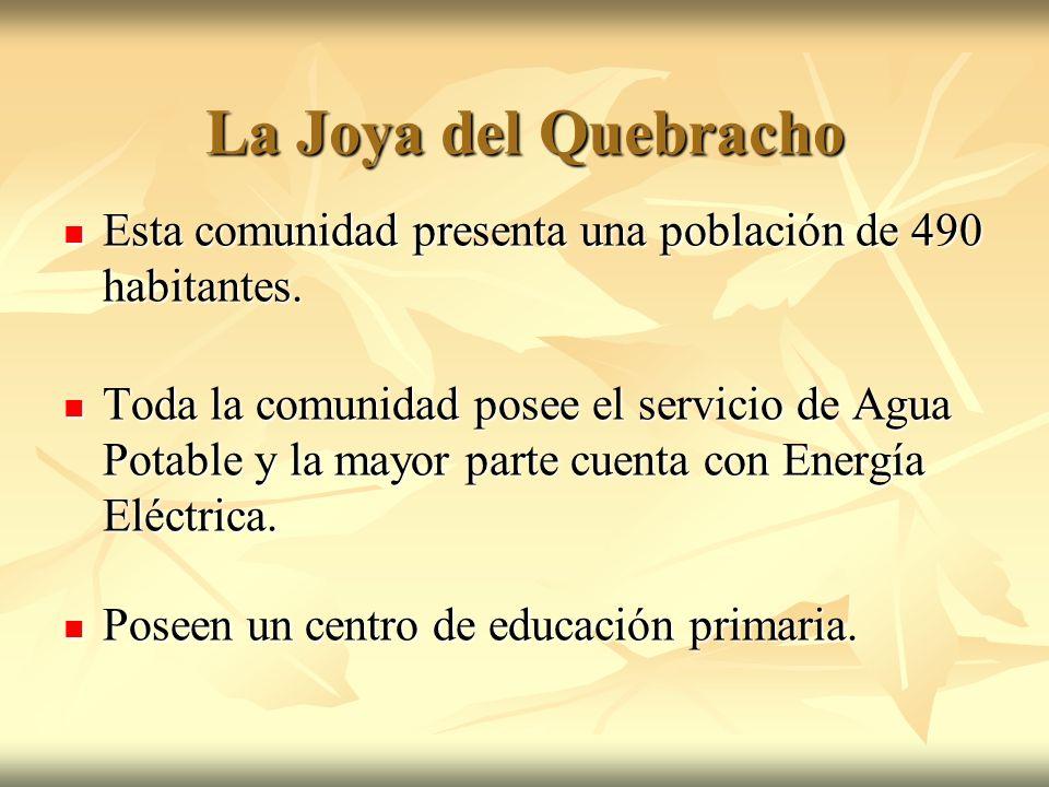 La Joya del Quebracho Esta comunidad presenta una población de 490 habitantes.