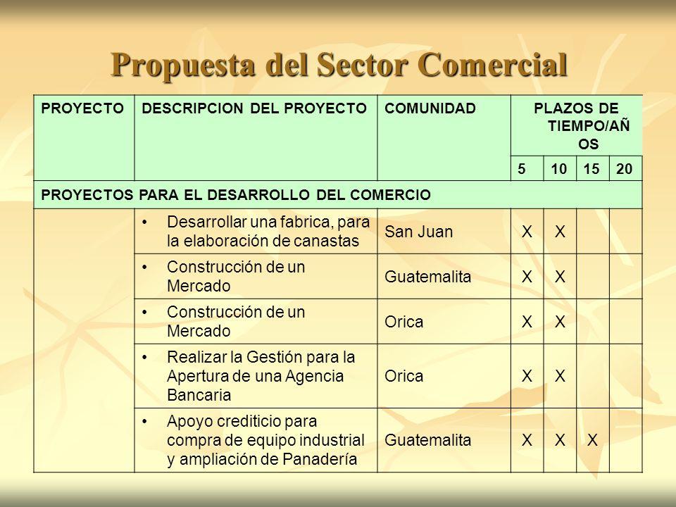 Propuesta del Sector Comercial