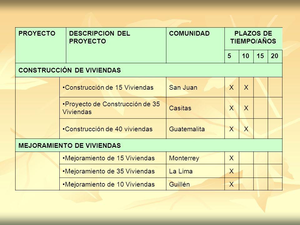 PROYECTO DESCRIPCION DEL PROYECTO. COMUNIDAD. PLAZOS DE TIEMPO/AÑOS. 5. 10. 15. 20. CONSTRUCCIÓN DE VIVIENDAS.