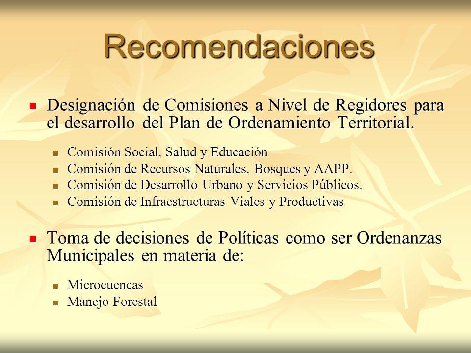 Recomendaciones Designación de Comisiones a Nivel de Regidores para el desarrollo del Plan de Ordenamiento Territorial.