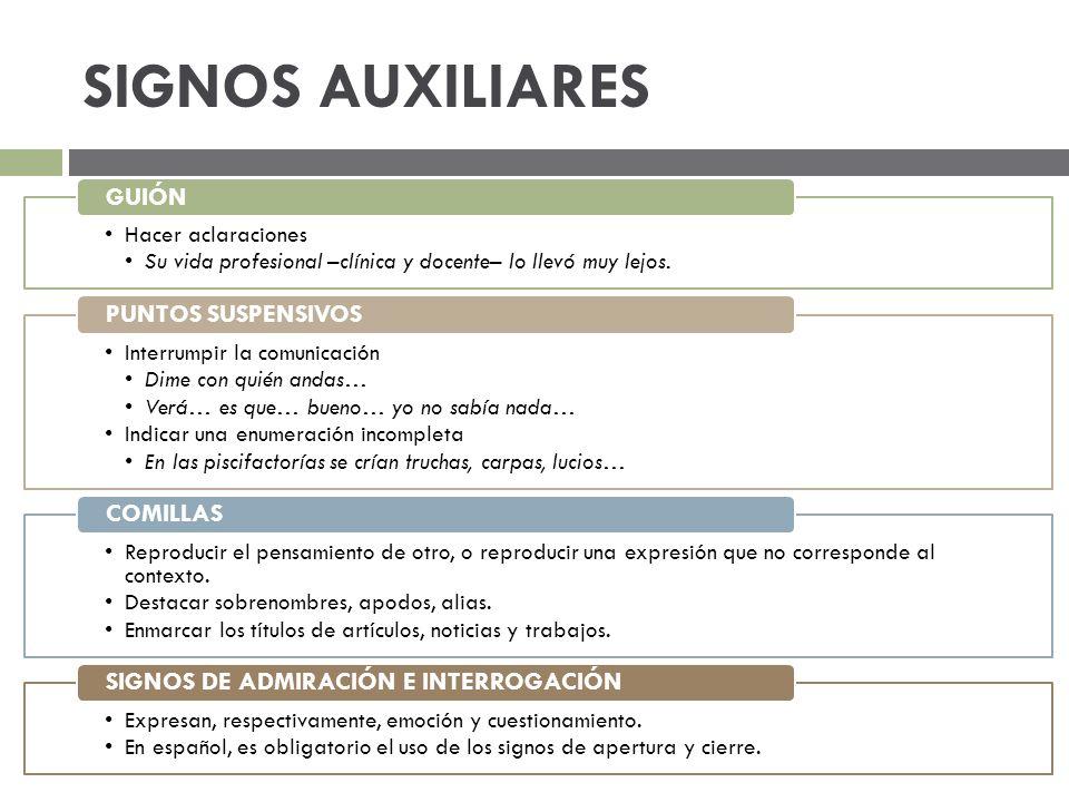 SIGNOS AUXILIARES SIGNOS DE ADMIRACIÓN E INTERROGACIÓN
