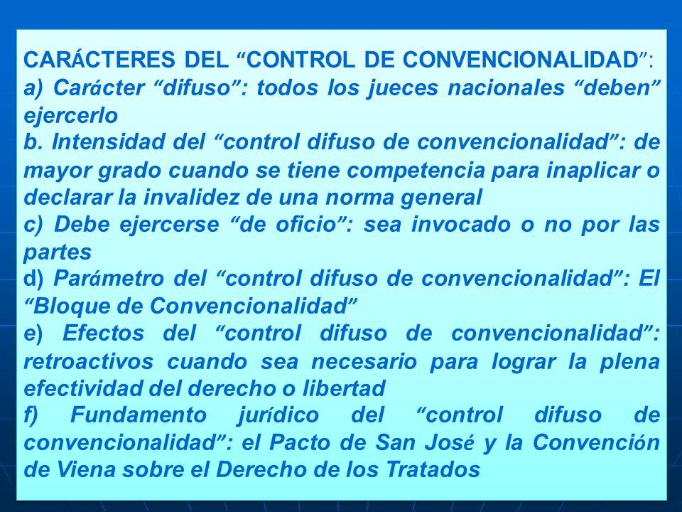 CARÁCTERES DEL CONTROL DE CONVENCIONALIDAD :