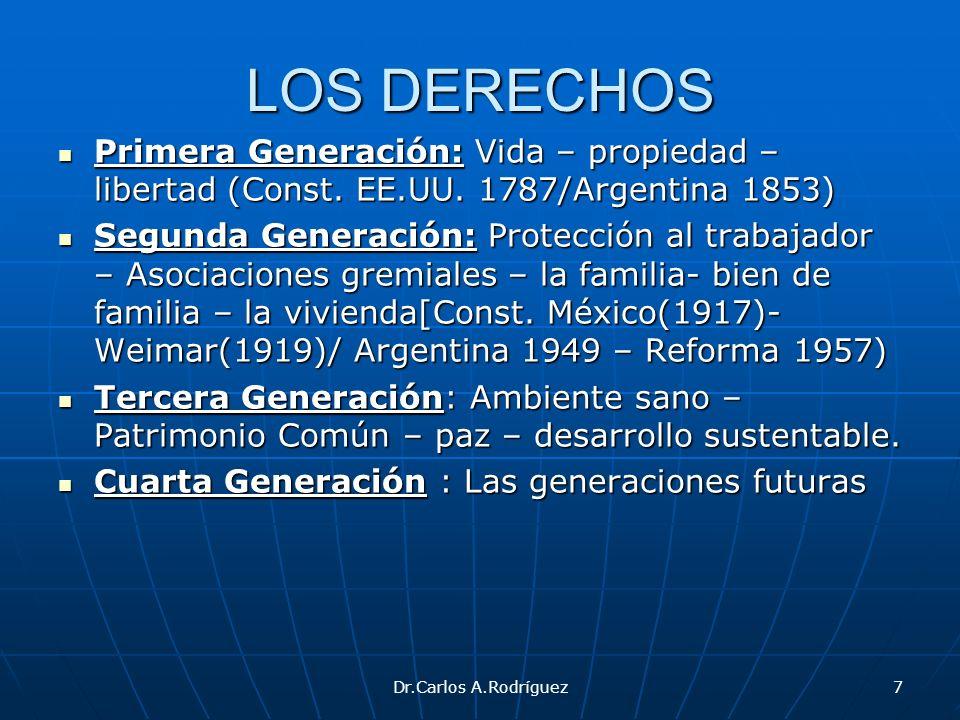 LOS DERECHOS Primera Generación: Vida – propiedad – libertad (Const. EE.UU. 1787/Argentina 1853)