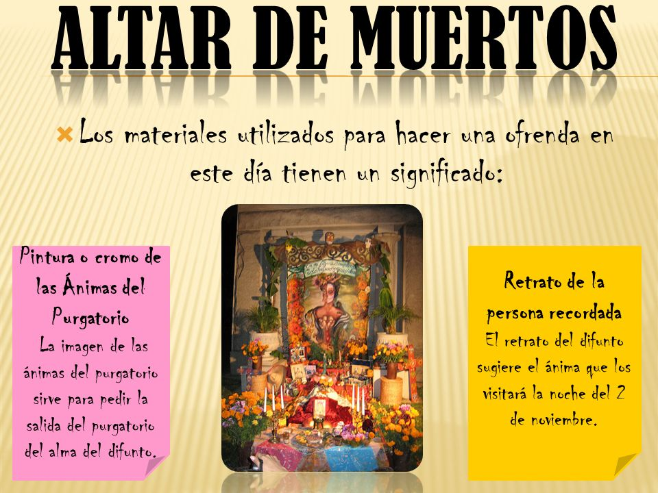 Altar de muertos Los materiales utilizados para hacer una ofrenda en este día tienen un significado: