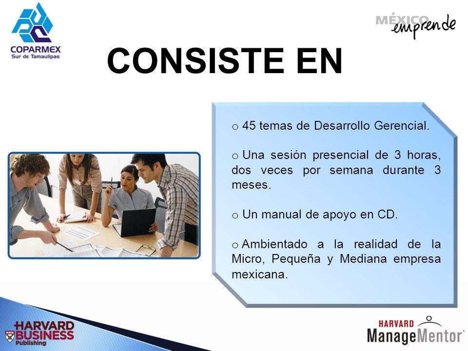 CONSISTE EN 45 temas de Desarrollo Gerencial.
