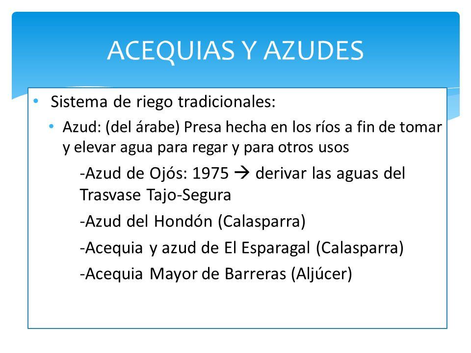 ACEQUIAS Y AZUDES Sistema de riego tradicionales:
