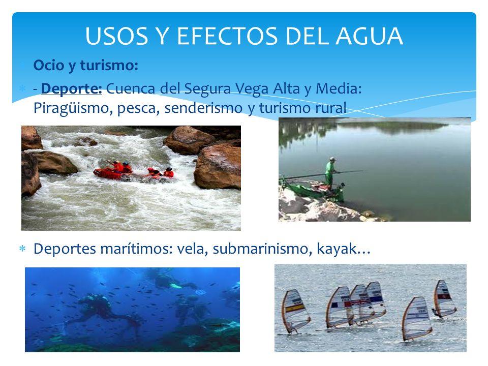 USOS Y EFECTOS DEL AGUA Ocio y turismo: