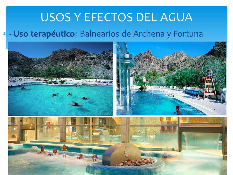 USOS Y EFECTOS DEL AGUA - Uso terapéutico: Balnearios de Archena y Fortuna