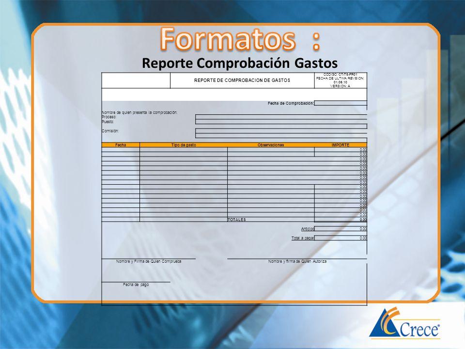 Reporte Comprobación Gastos REPORTE DE COMPROBACION DE GASTOS