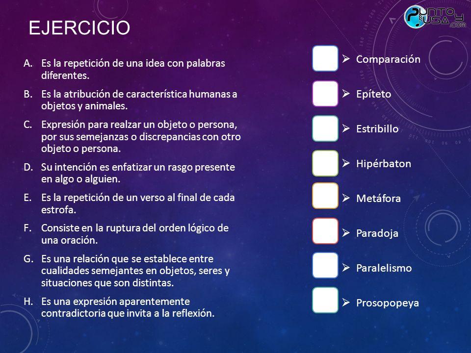EJERCICIO Comparación Epíteto Estribillo Hipérbaton Metáfora Paradoja