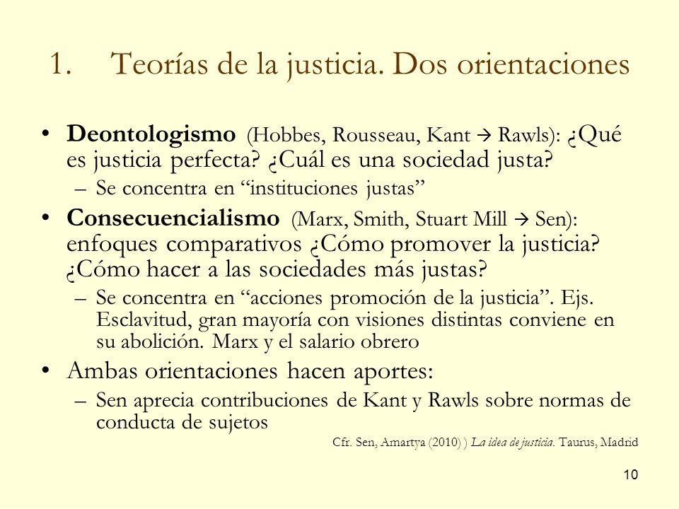 Teorías de la justicia. Dos orientaciones