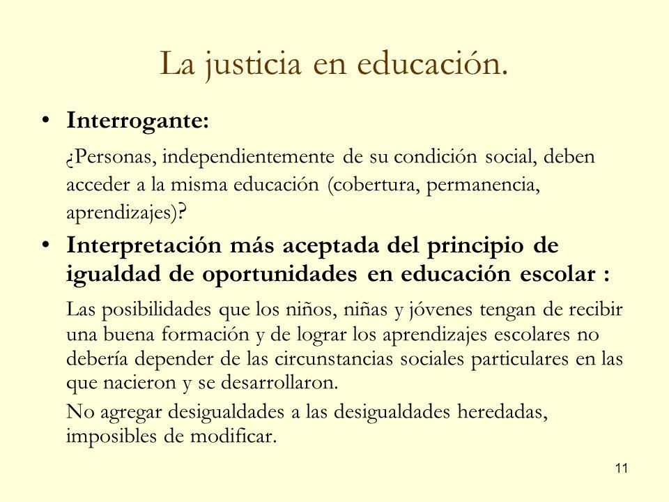 La justicia en educación.