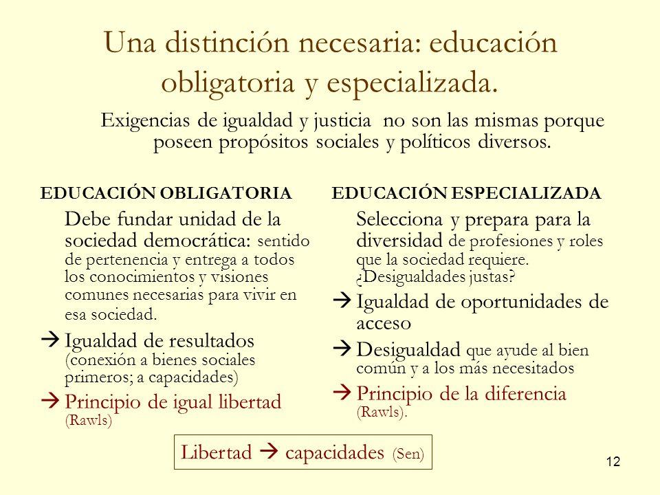 Una distinción necesaria: educación obligatoria y especializada.