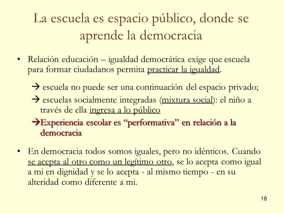 La escuela es espacio público, donde se aprende la democracia