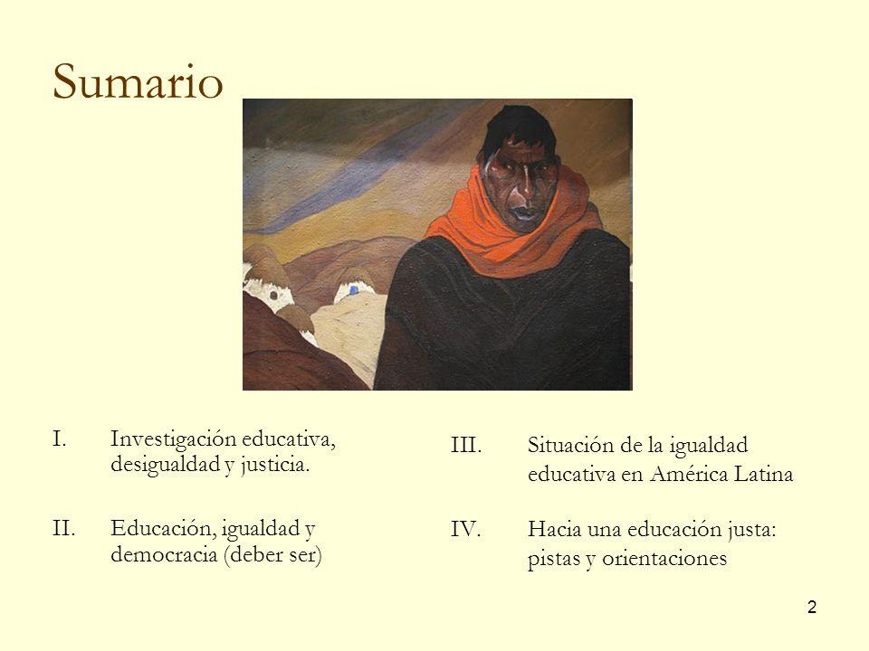 Sumario Situación de la igualdad educativa en América Latina