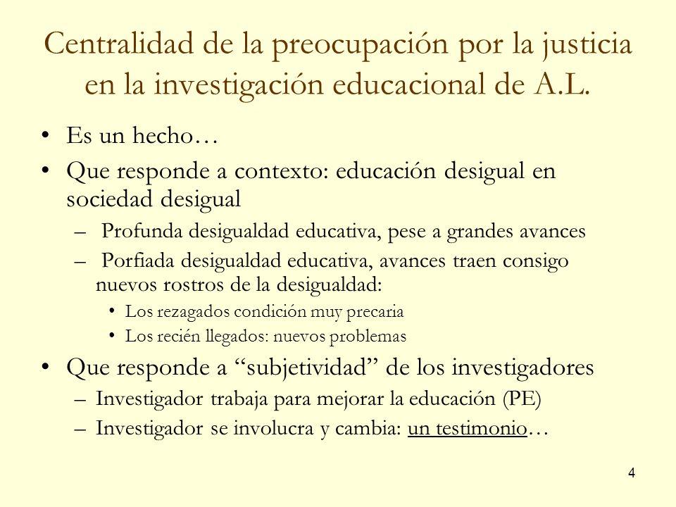 Centralidad de la preocupación por la justicia en la investigación educacional de A.L.