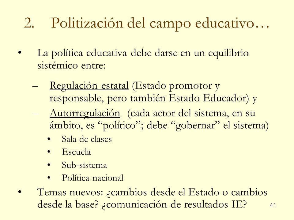 Politización del campo educativo…