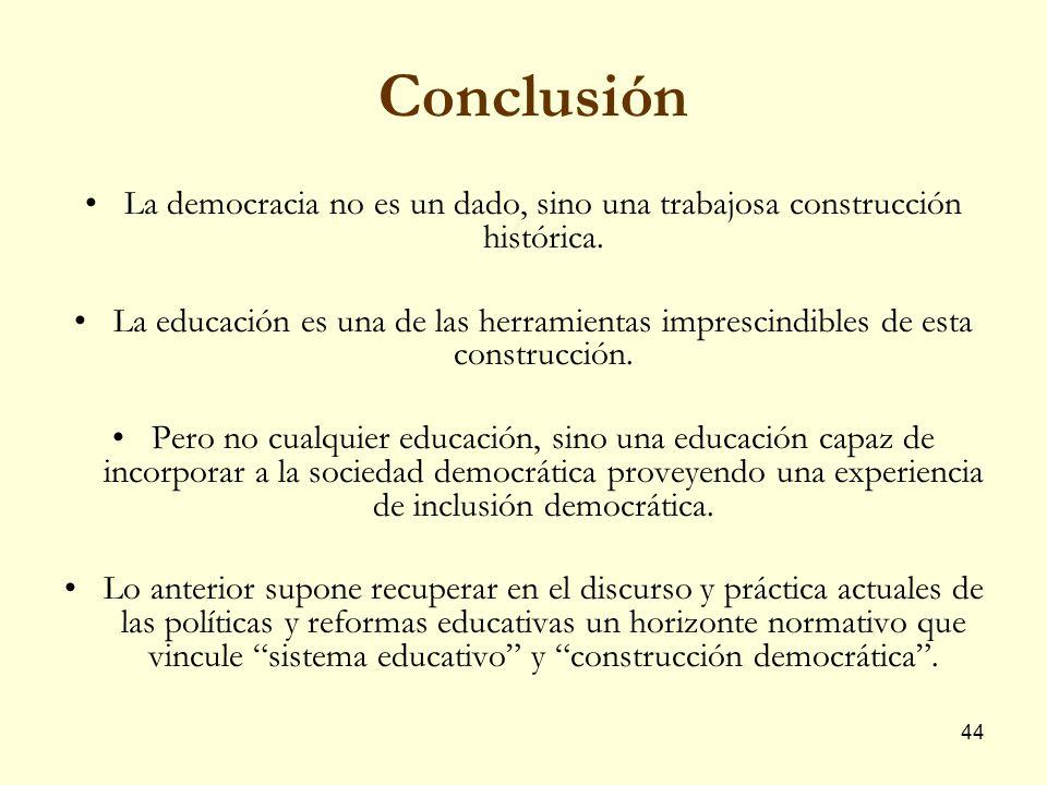 Conclusión La democracia no es un dado, sino una trabajosa construcción histórica.
