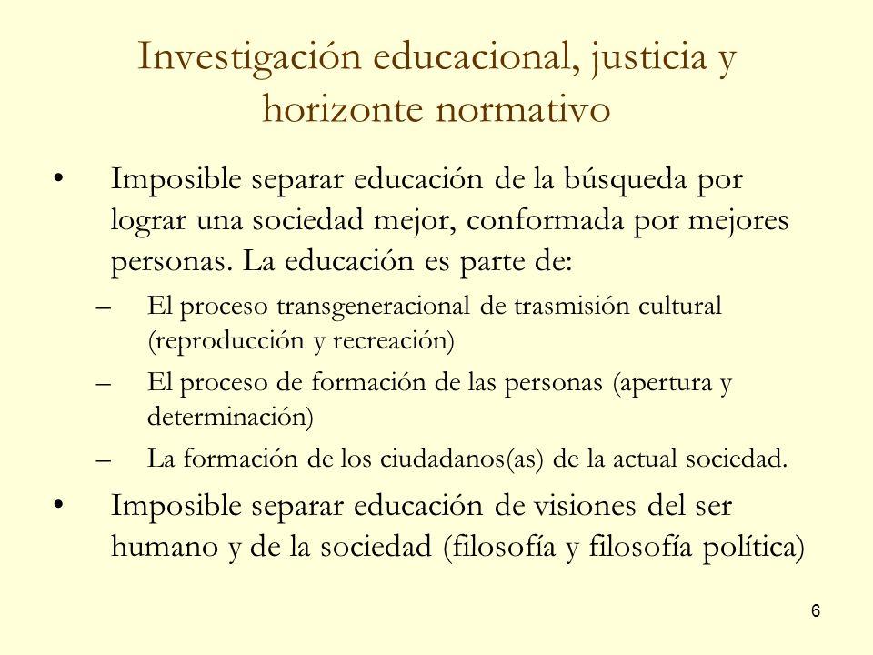 Investigación educacional, justicia y horizonte normativo