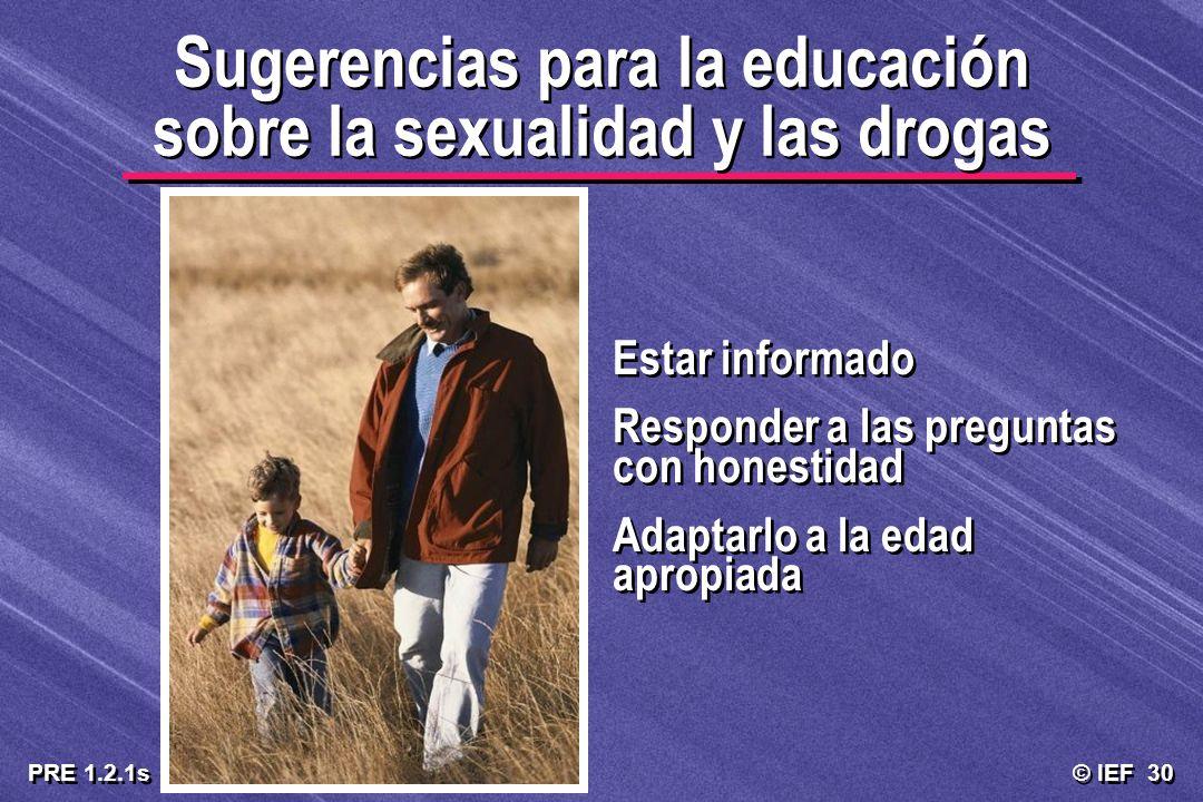 Sugerencias para la educación sobre la sexualidad y las drogas