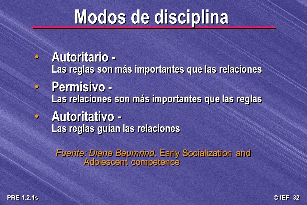 Modos de disciplina Autoritario - Las reglas son más importantes que las relaciones. Permisivo - Las relaciones son más importantes que las reglas.