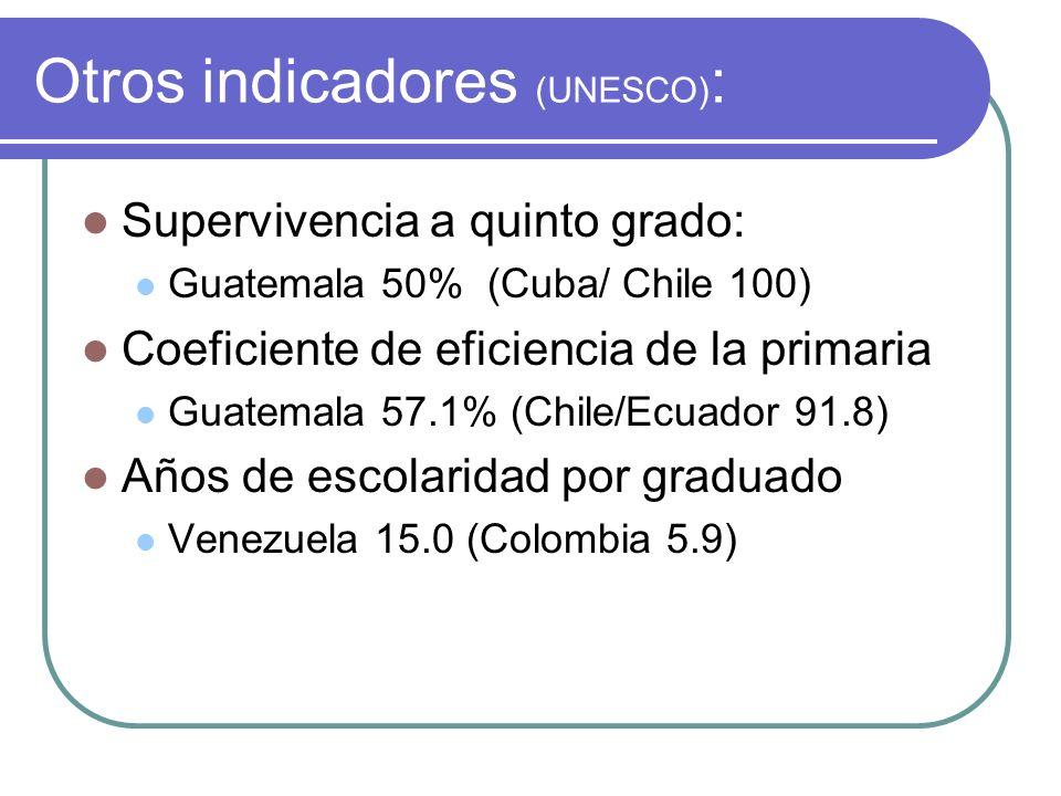Otros indicadores (UNESCO):