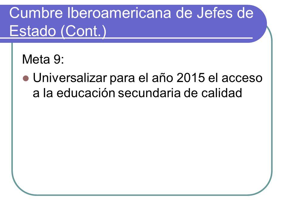 Cumbre Iberoamericana de Jefes de Estado (Cont.)
