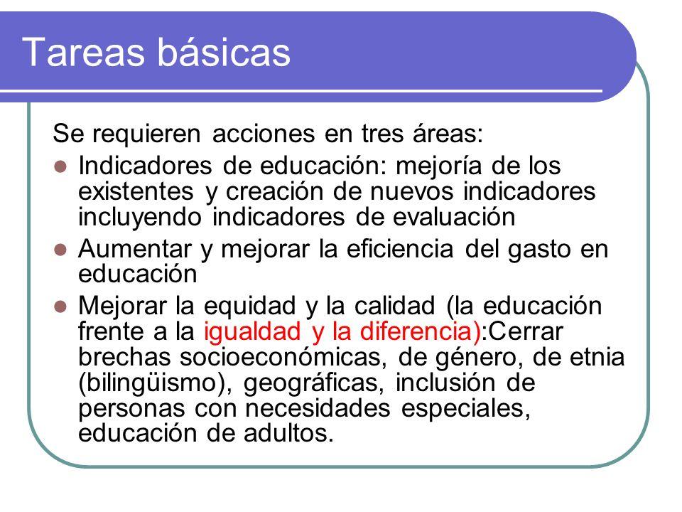 Tareas básicas Se requieren acciones en tres áreas:
